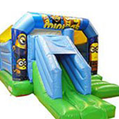 blue Minions themed bouncy castle with a slide at the front