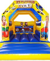 blue and yellow pirate themed bouncy castle